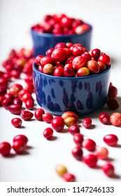 Bright red cranberries in a beautiful blue bowl on a wooden table, close-up