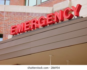 Bright Red EMERGENCY Sign.