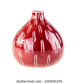 a bright red glazed ceramic vase isolated over a white background