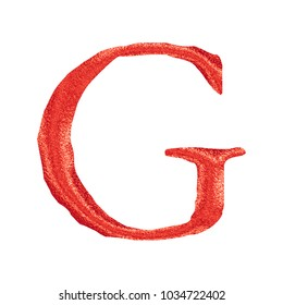 Bright red glitter sparkling uppercase or capital letter G in a 3D illustration with a shiny plastic red sparkle glittery effect and jagged edge font isolated on a white background with clipping path.