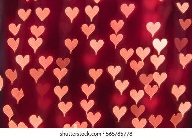 Bright Red Heart bokeh background. Modern, abstract flat design for card or website.