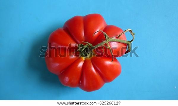 Bright red heirloom beefsteak tomato on blue background