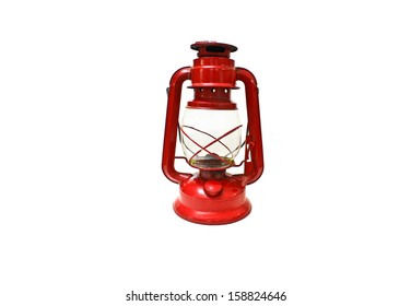 Bright red lantern isolated on white background