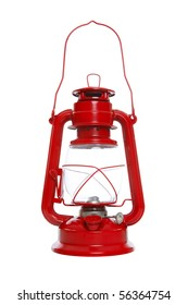 Bright red lantern isolated over a white background