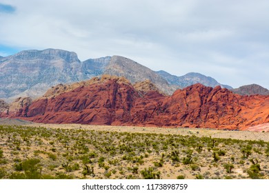 Bright red rocks rise over the Mojave Desert.