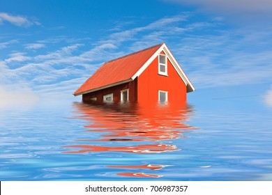 Bright Red Siding House in water flood to illustrate flooding or climate change. Blue sky background