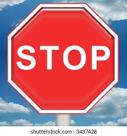 Bright red stop sign with blue sky background