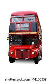 A bright red traditional London bus isolated over white