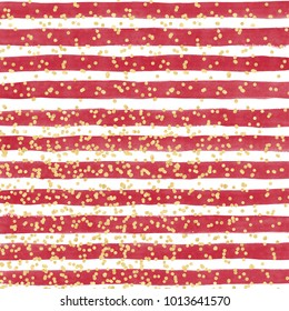 Bright red watercolor background with horizontal lines and gold confetti