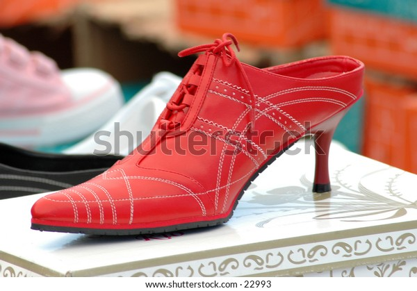 Bright red womans shoe