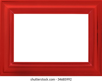 Bright red wooden photo frame isolated on white (with empty space for your text, photo or picture)