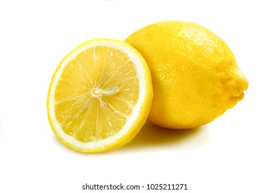 Bright and ripe lemon isolated on white background.