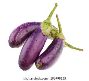 Bright ripe violet eggplant isolated