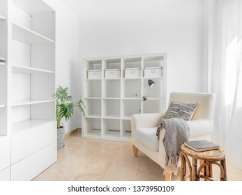 Bright room interior with armchair with shelves and cushion. Relax lecture retreat room. Hygge decoration concept.