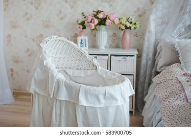 Bright room for little baby. white cradle