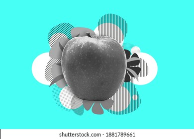 A Bright Sale Banner vector collage of universal graphic apple Elements, Geometric Shapes, Dotted Halftone Object for print and web. Fruit collage