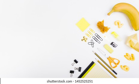 Bright school stationery top view