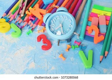 Bright school supplies close-up.back to school, children's creativity.