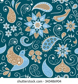 Bright seamless endless pattern with Paisley, flowers,leaves,berries, birds in the Oriental style