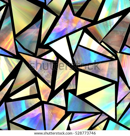 Bright seamless pattern with iridescent triangles on black background.