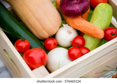 The bright seasonal vegetables in a box