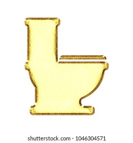 Bright shiny gold metal style toilet icon bathroom symbol in a 3D illustration with a shining vivid golden color and beveled edge isolated on a white background with clipping path.