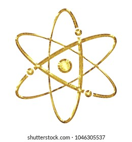 Bright shiny gold metal style atomic symbol or molecule orbit icon in a 3D illustration with a shining vivid golden color and beveled edge isolated on a white background with clipping path.