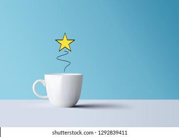 bright shiny star and white coffee mug, creative idea