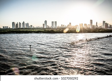 Bright and silver sunset over Buenos Aires bay
