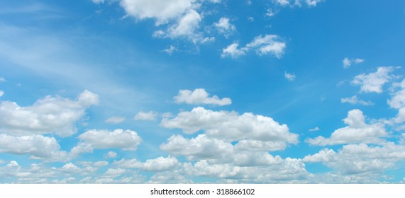 Bright sky and white cloud panorama