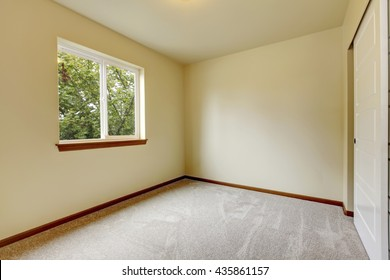 Bright small empty room with carpet floor, one window and ivory walls.