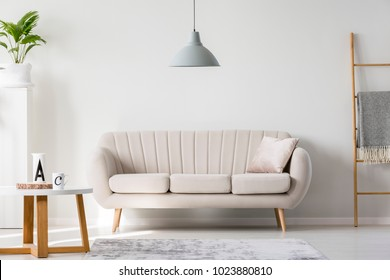 Bright sofa with decorative, silver pillow standing in living room interior with empty wall