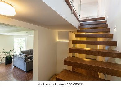 Bright space - lit up stairs in an elegant mansion
