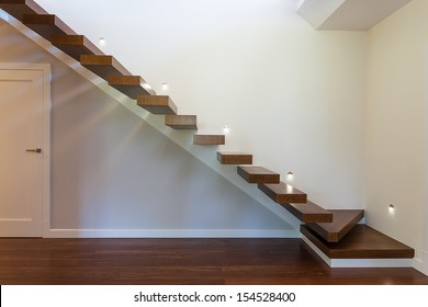 Bright space - modern geometric staircase with white walls