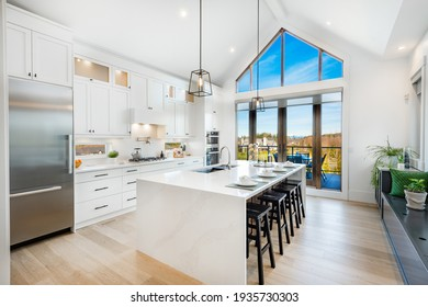 bright, spacious and modern farmhouse style kitchen - Shutterstock ID 1935730303