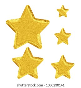 Bright sparkling glittery gold set of rounded corner star shape design elements in a 3D illustration with a golden color sparkle texture isolated on a white background with clipping path.