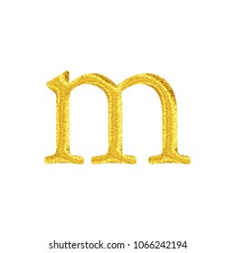 Bright sparkling gold style lowercase or small letter M in a 3D illustration with a vivid shiny glittery golden color and antique bookletter font isolated on a white background with clipping path.