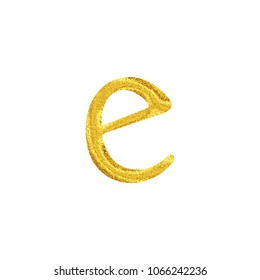 Bright sparkling gold style lowercase or small letter E in a 3D illustration with a vivid shiny glittery golden color and antique bookletter font isolated on a white background with clipping path.