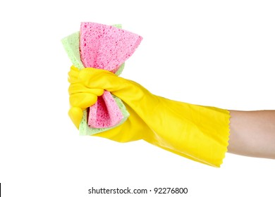bright sponges in hand isolated on white