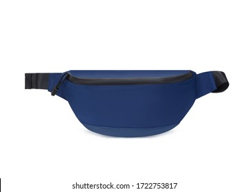 Bright sporty dark blue waist bag, front view, blank, mock-up, clipping path isolated on white background
