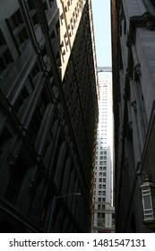 Bright spot and bridge in the high-rise jungle of Manhattan