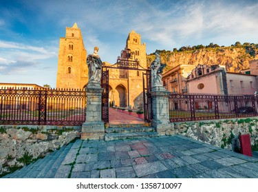 Bright spring cityscape of Cefalu town with Cefalu Cathedral, Sicily, Italy, Europe. Traveling concept background.