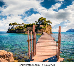 Bright spring view of the Cameo Island. Picturesque morning scene on the Port Sostis, Zakynthos island, Greece, Europe. Beauty of nature concept background.
