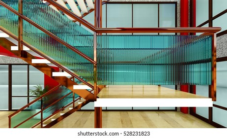 Bright staircase in the modern building 3d rendering