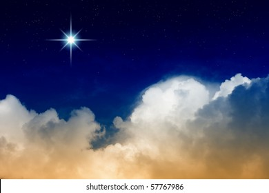 Bright star and clouds in night sky