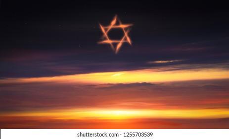 Bright star of David  . Among rays of gold Star of David .