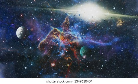 Bright Star Nebula. Distant galaxy. Abstract image. Elements of this image furnished by NASA.