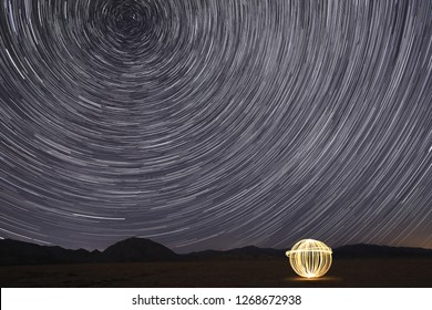 Bright Star Trails in Victorville, California at Night with an Orb