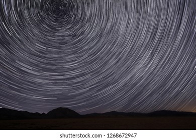 Bright Star Trails in Victorville, California at Night