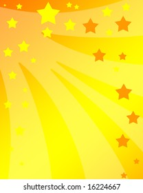 bright stars on a soft yellow and orange background